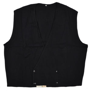 Wool Double-Breasted Waistcoat Sweater Vest by E. Braun & Co. XL - Black