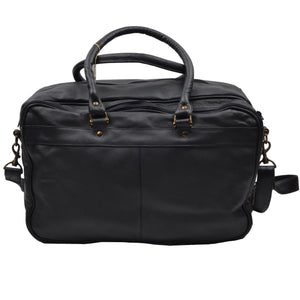 Leather Duffle/Weekender/Gym Bag - Black