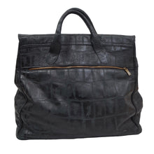 Load image into Gallery viewer, Stamped Crocodile Leather Weekender  - Black