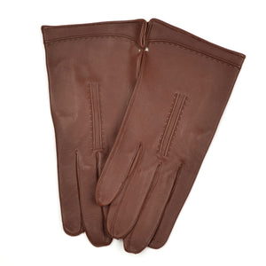 Unlined Calfskin Leather Dress Gloves Size 8 1/4 - Brown