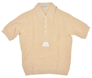 Knit Polo Shirt by Zimmerli Size XL - Ivory Cotton Lisle