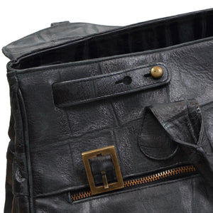Stamped Crocodile Leather Weekender  - Black