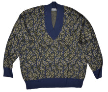 Load image into Gallery viewer, Zimmerli of Switzerland V-Neck Wool Sweater XXL - Blue & Green
