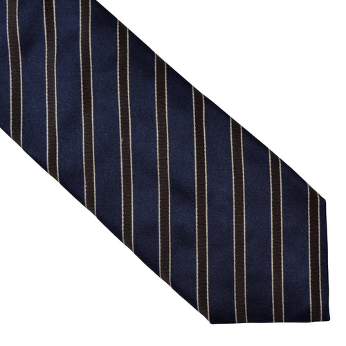 Van Laack Silk Wool Striped Tie - Blue/Brown