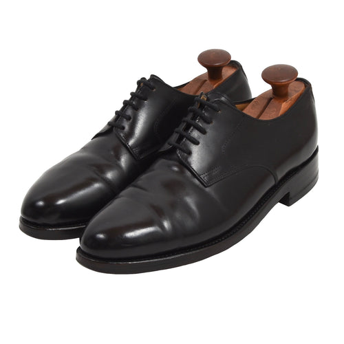 Bespoke Shell Cordovan Plain Toe Blucher Shoes - Black