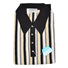 Load image into Gallery viewer, Knit Striped Polo Shirt by Zimmerli Size XL - Cotton Lisle Black, White & Beige