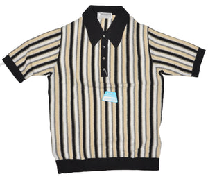 Knit Striped Polo Shirt by Zimmerli Size XL - Cotton Lisle Black, White & Beige