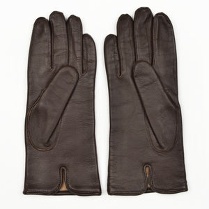 Wool-Lined Calfskin Gloves Size S - Brown