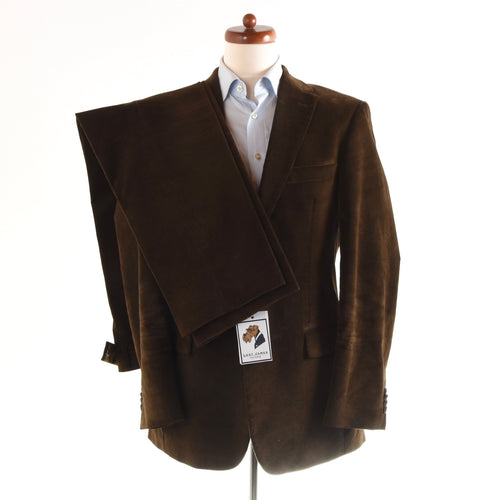 Hugo Boss Corduroy Suit Size 48 - Brown