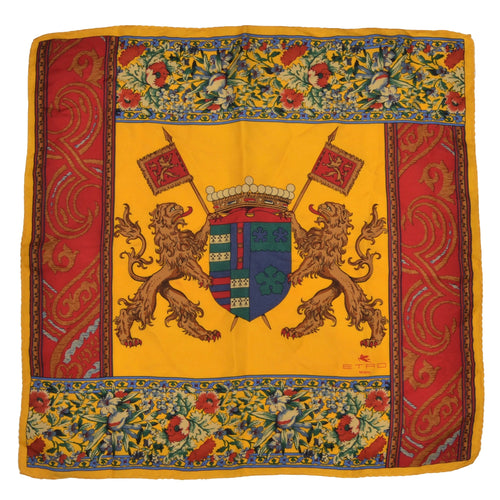Etro Milano Silk Pocket Square - Yellow Lion Print