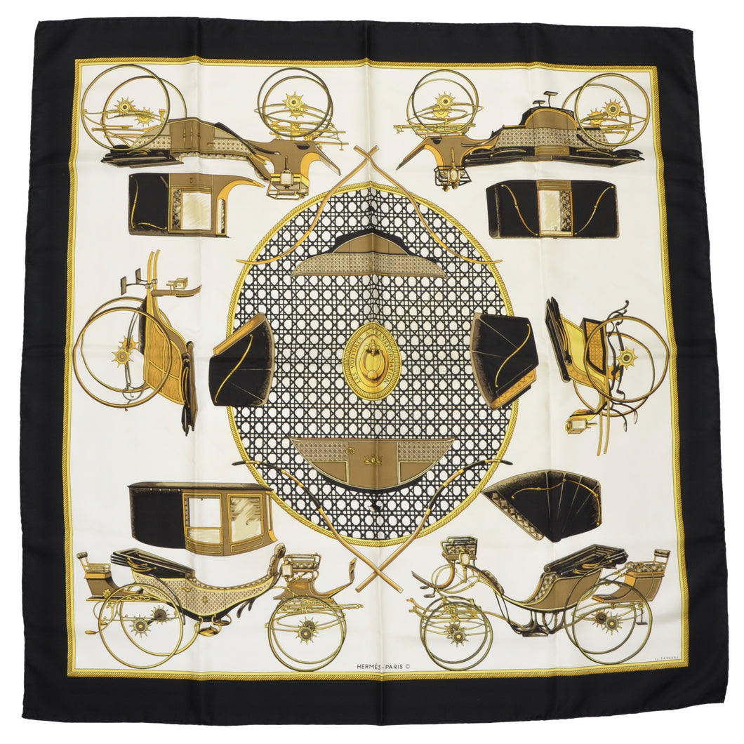 Hermès Paris La Perriere Les Voitures a Transformation Silk Scarf