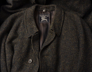 Classic Tweed Overcoat by Burberrys Size UK 48 - Moss Green