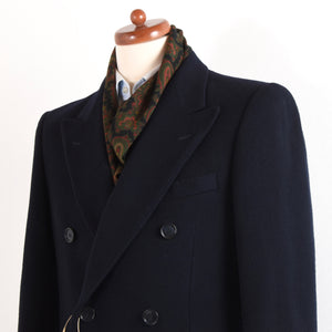 A'Mana Wool-Cashmere Double-Breasted Peak Lapel Coat Size 46 - Navy Blue