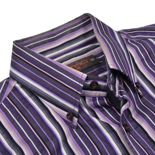 Etro Milano Striped Shirt Size 39 Slim Fit - Purple & Black