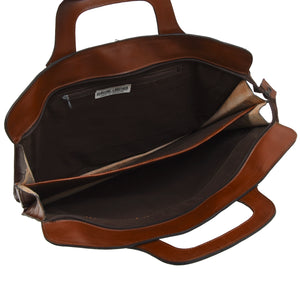 Leather Briefcase/Document Carrier - Brown