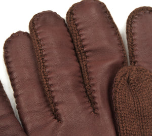 Cashmere Knit Gloves Size M - Chocolate