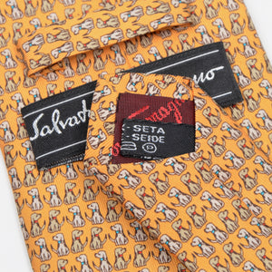 Salvatore Ferragamo Dog Print Silk Tie - Yellow