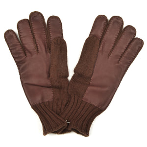 Cashmere Knit Gloves Size L - Chocolate