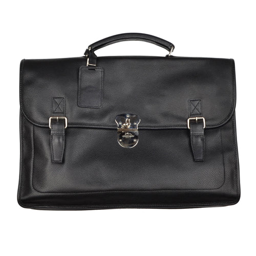 Longchamp Paris Softsided Leather Briefcase - Black
