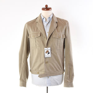 Dries Van Note Cropped Military-Inspired Jacket Size M - Tan/Khaki