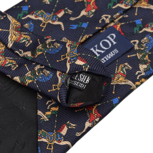 Whimsical Horse-Themed Silk Tie - Navy
