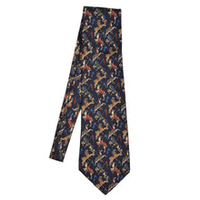Load image into Gallery viewer, Whimsical Horse-Themed Silk Tie - Navy