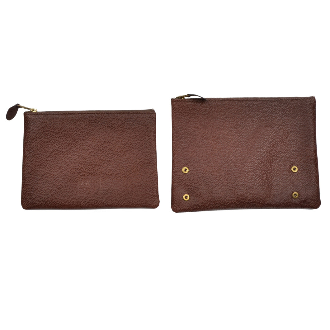 R. Horn Wien Leather Zipper Pounches/Travel Wallets - Brown