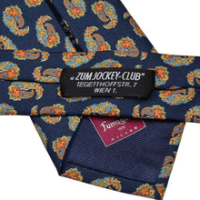 Load image into Gallery viewer, Fumagalli Milano 5 Fold Silk Tie - Navy Paisley