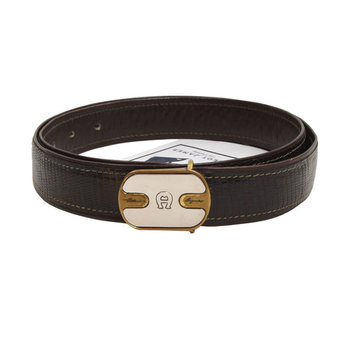 Etienne Aigner Belt Buckle Inc. Lizard Strap - Brown