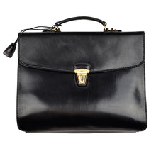 Load image into Gallery viewer, The Bridge Firenze Leather Briefcase/Business Bag - Black