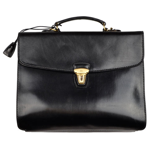 The Bridge Firenze Leather Briefcase/Business Bag - Black