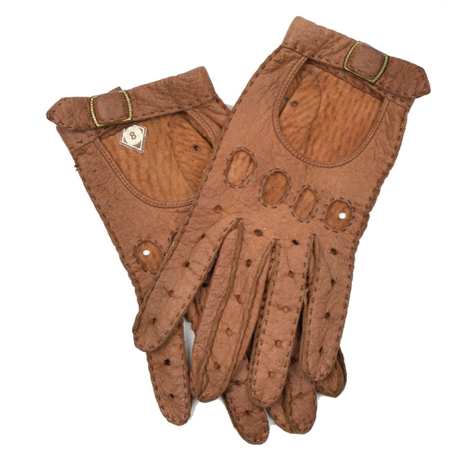 Unlined Peccary Driving Gloves - Brown