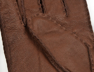 Lined Hand-Stitched Leather Gloves Size M - Brown