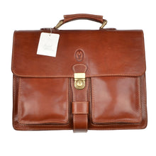 Load image into Gallery viewer, Maiani Firenze Leather Briefcase/Business Bag - Saddle Brown
