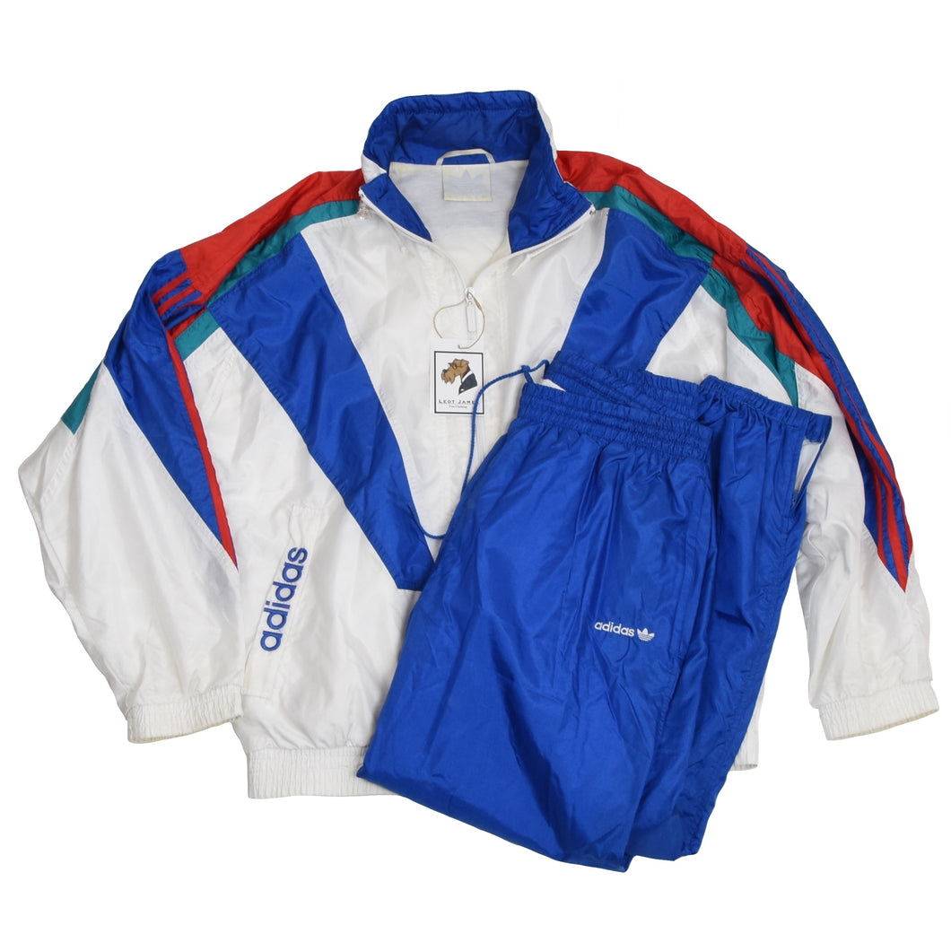 Vintage '90s Adidas Jogging/Warm Up Suit Size D7/L - Blue, White, Teal, Red