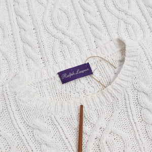 Ralph Lauren Purple Label Cableknit Sweater - White