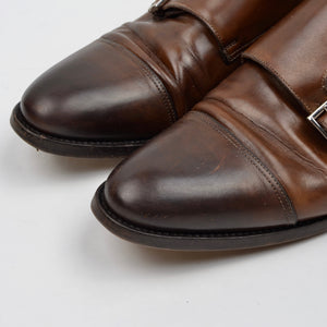 Santoni Double-Monk Leather Shoes Size 8.5F - Brown