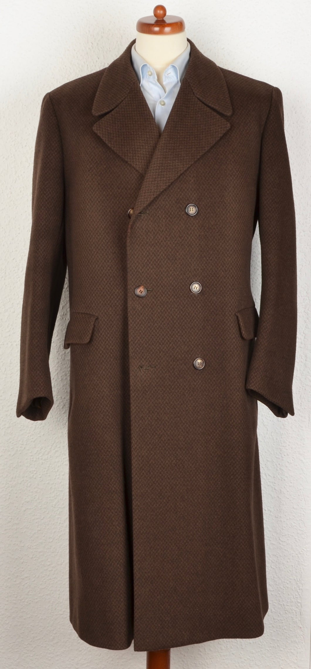 Anonymous Handmade Double-Breasted Overcoat - Brown Chevron