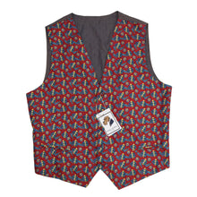 Load image into Gallery viewer, Printed Silk Waistcoat/Vest Size L - Red