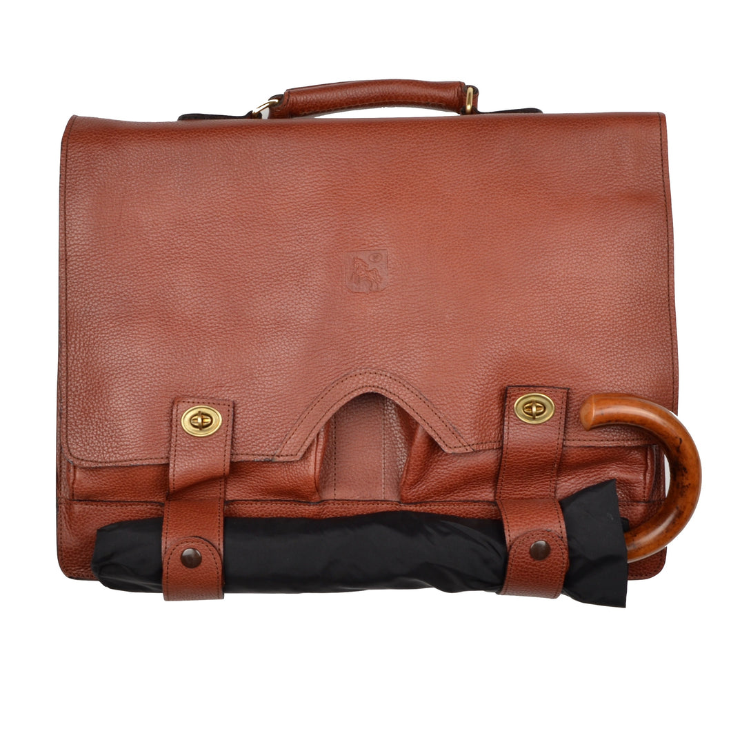 Pebble Grain Leather Satchel/Briefcase - Brown