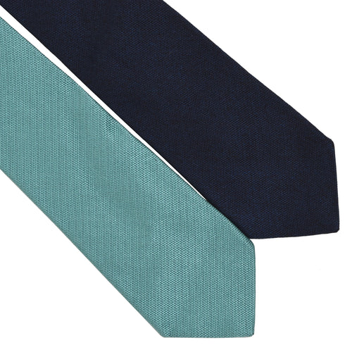 Ermenegildo Zegna Twin Double Tie for Bianchi Cycling - Navy & Turquoise