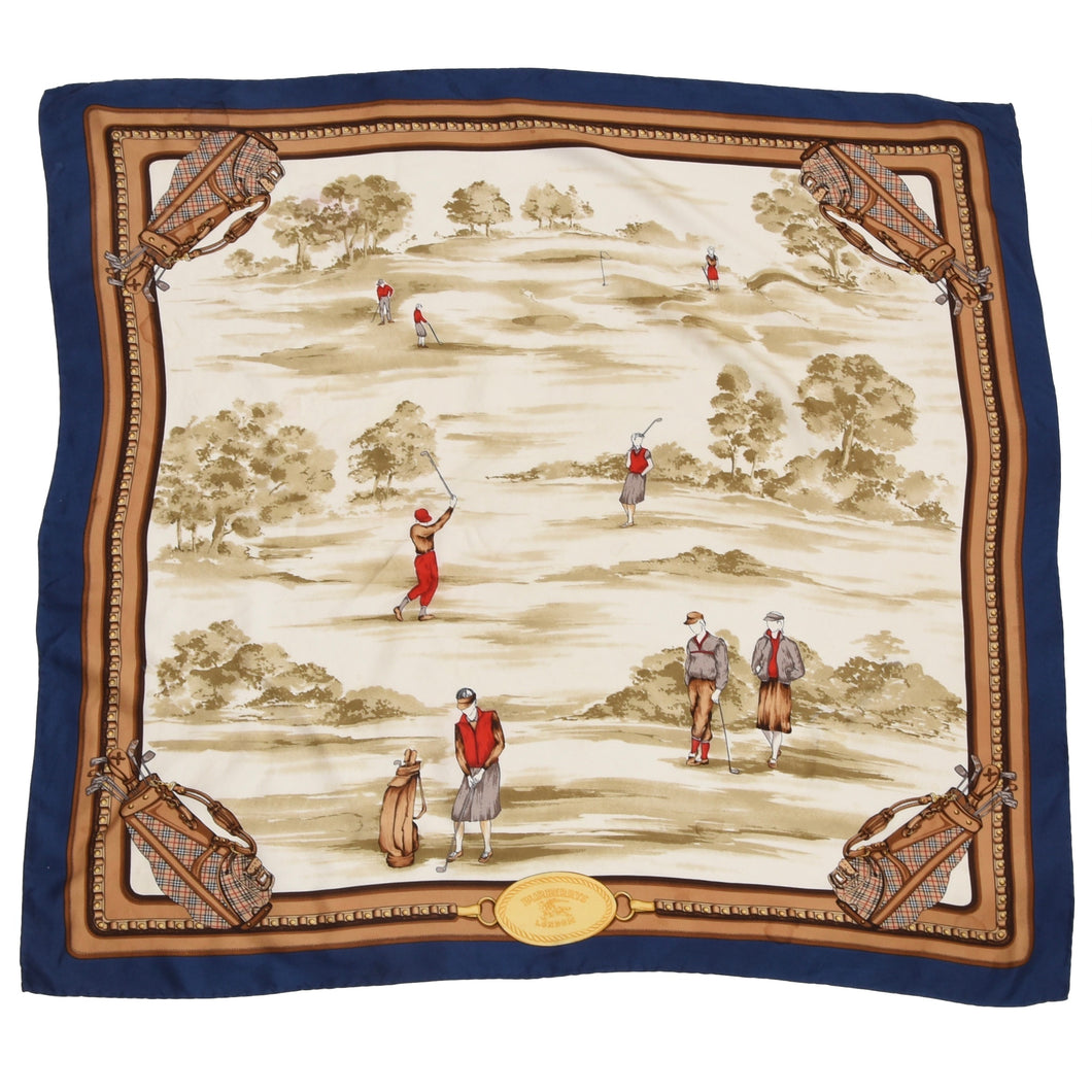 Burberrys London Golf Print Silk Scarf