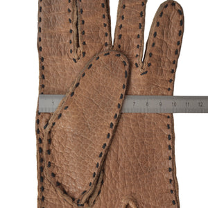 Unlined Peccary Gloves  - Walnut Brown