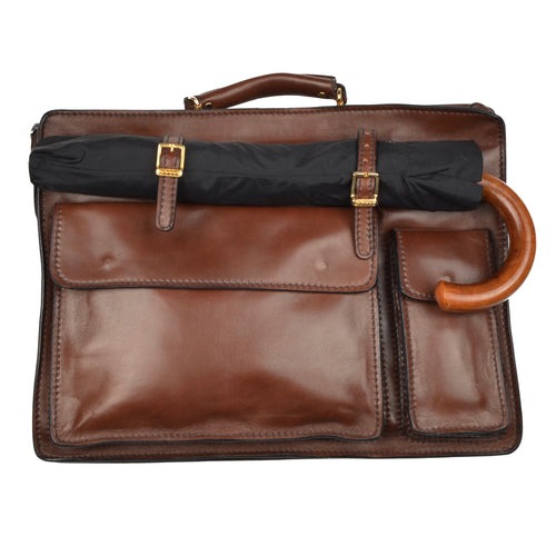 Salamander Leather Briefcase Carryall - Brown
