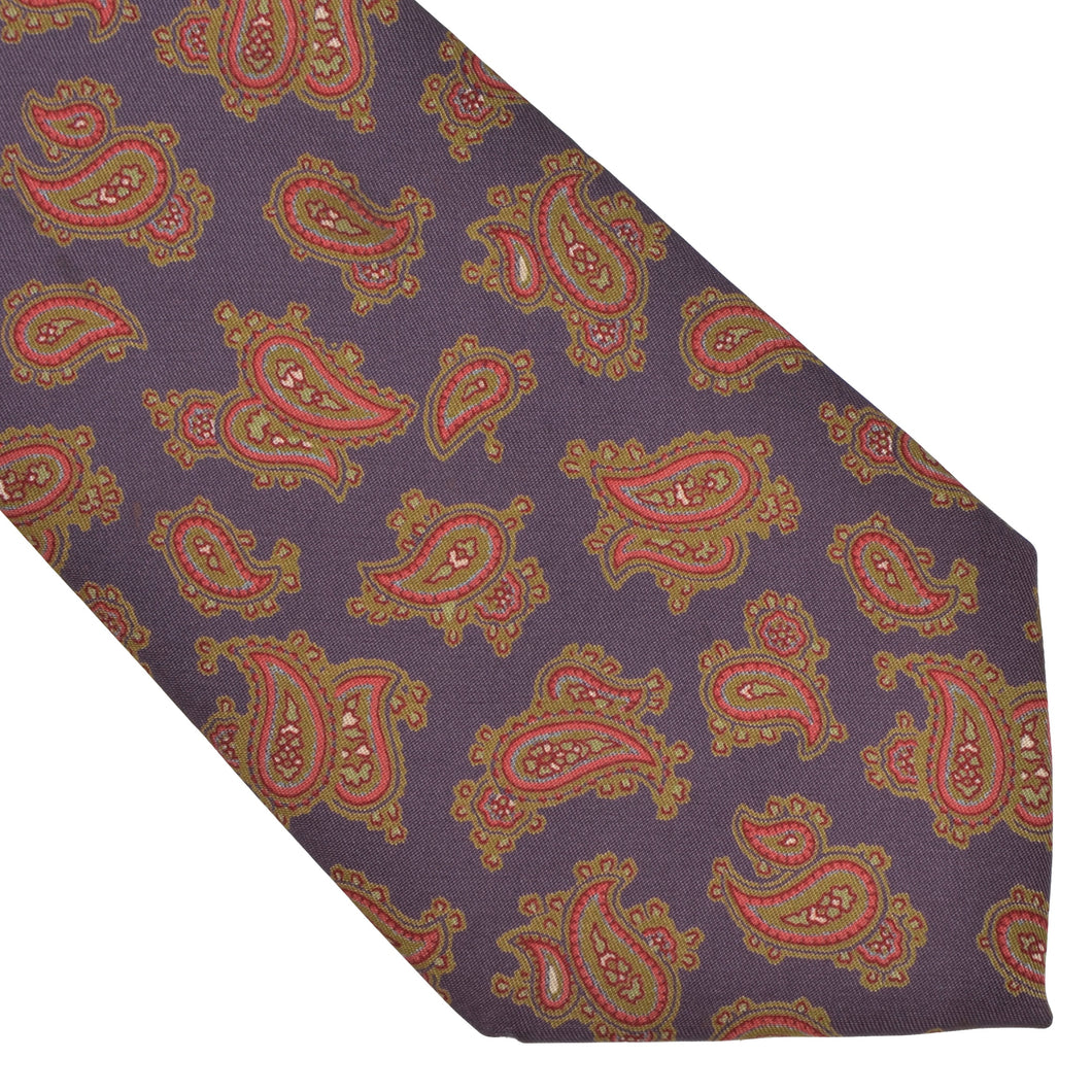 Louis Boston Paisley Silk Tie - Purple