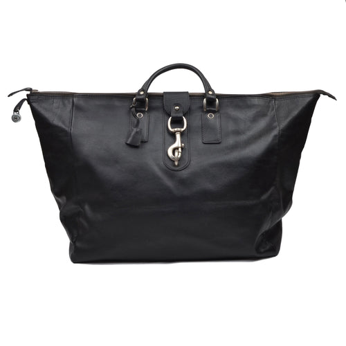 Goldpfeil Leather Weekender/Duffle Bag - Black