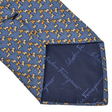 Load image into Gallery viewer, Salvatore Ferragamo Bunny Print Silk Tie - Blue