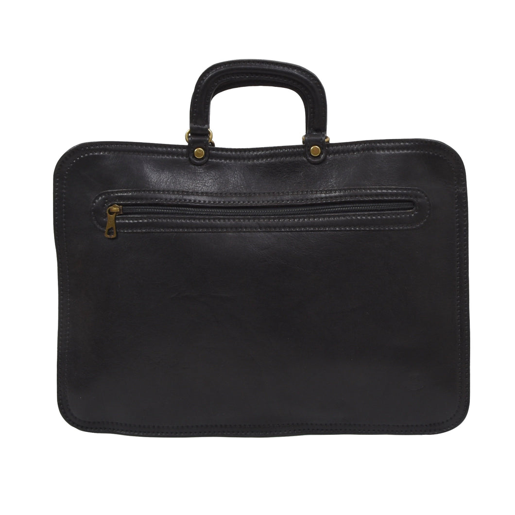 Pielle Leather Briefcase/Document Holder - Black