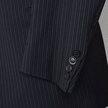 Load image into Gallery viewer, Recent DAKS London Wool Suit Size 25/50 Short - Navy Pinstripe