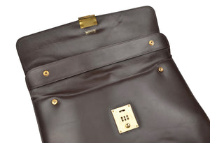 Mädler Elegant Leather Briefcase - Chocolate Brown